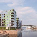 Illustrasjon av leilighetsbygg med grønn glassfasade beliggende på kaikant