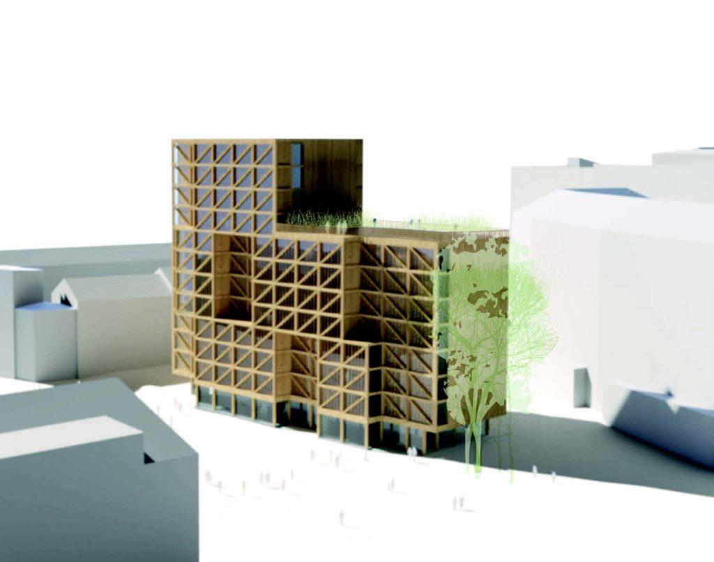 Tegning av et leilighetsbygg i tre med 8 og 12 etasjer