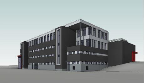 Enkel illustrasojn av et bygg i 5 etasjer