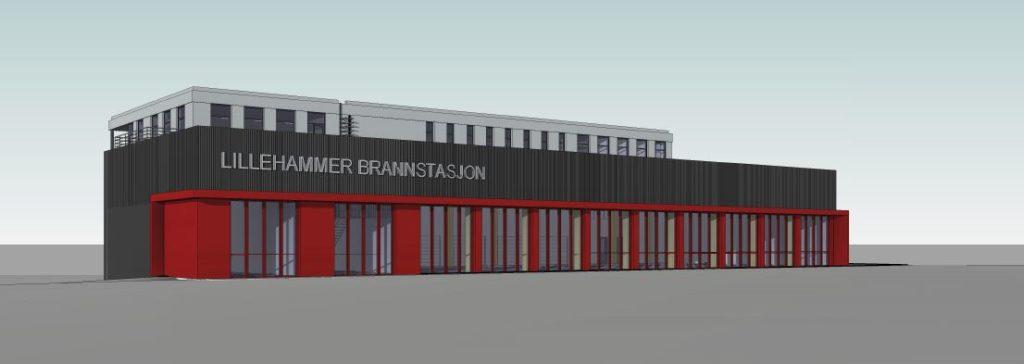 Enkel illustrasojn av et bygg i 5 etasjer med flere garasjeporter på rekke