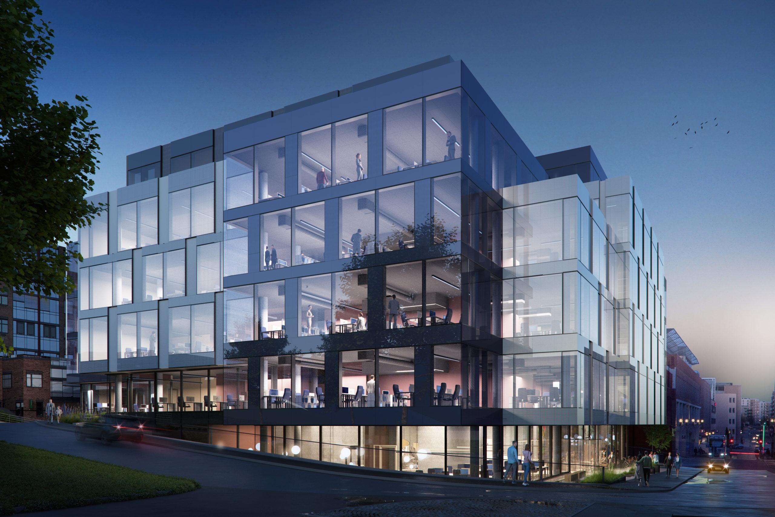 Illustrasjon av kontorbygg med glassfasader