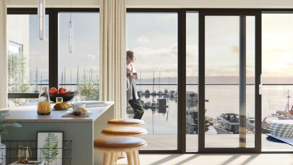 Illustrasjon av leilighetsprosjekt i vannkanten ved en marina