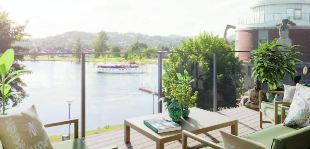 Illustrasjonsbilde fra veranda mot elv med båt