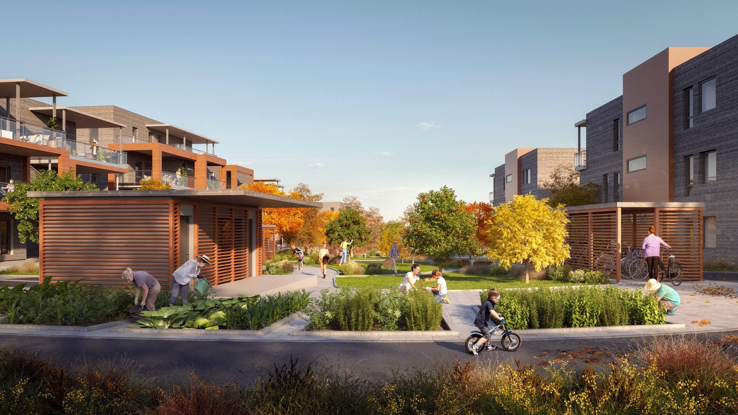 Illustrasjon av lave boligblokker med grønne områder mellom blokkene
