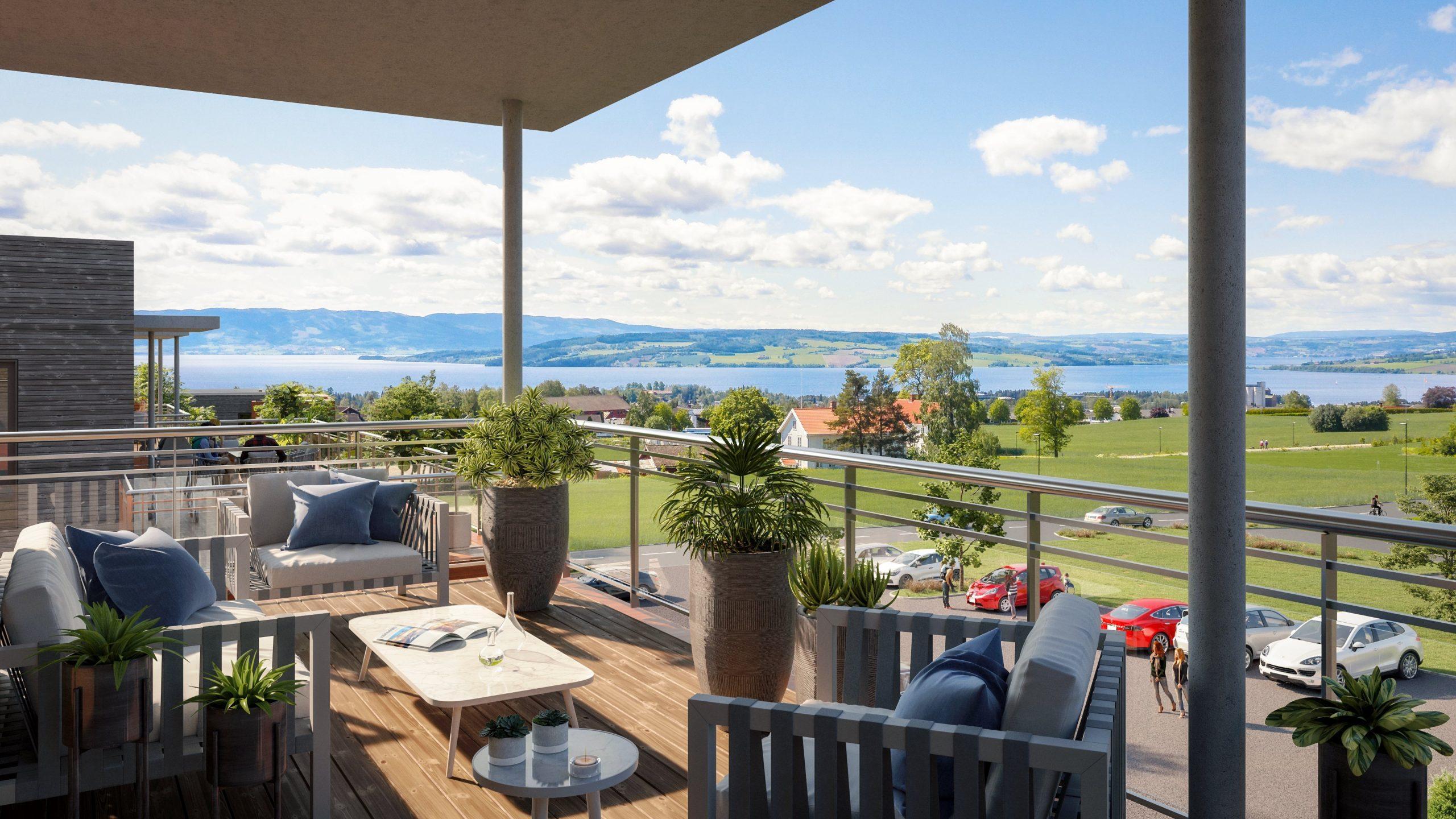 Illustrasjon av veranda med utsikt mot grønne områder med Mjøsa i bakgrunnen