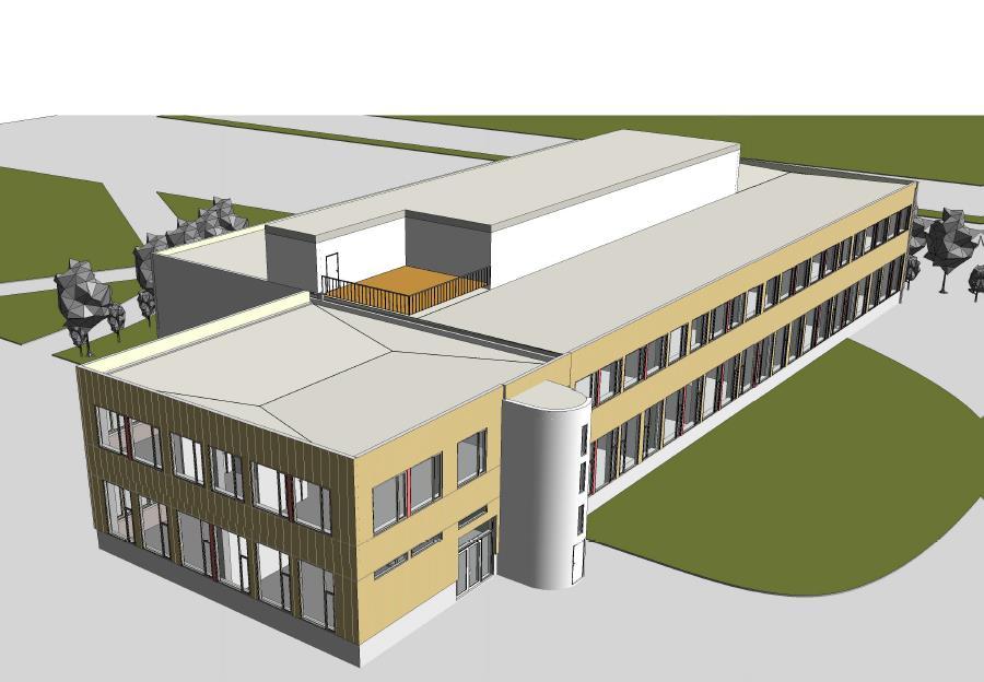 Illustrasjon av skolebygg