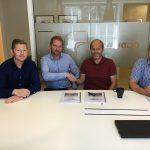 F.v.: Prosjektleder Kim Johansen og daglig leder Tom Utvik fra BetonmastHæhre Trøndelag, og daglig leder Øyvind Estenstad og prosjektleder Audun Berdal fra Godhavn.
