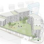 Enkel illustrasjon av et trekantet område med boligblokk og grøntarealer
