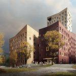 Illustrasjon av fire boligblokker i ulik form og høyde