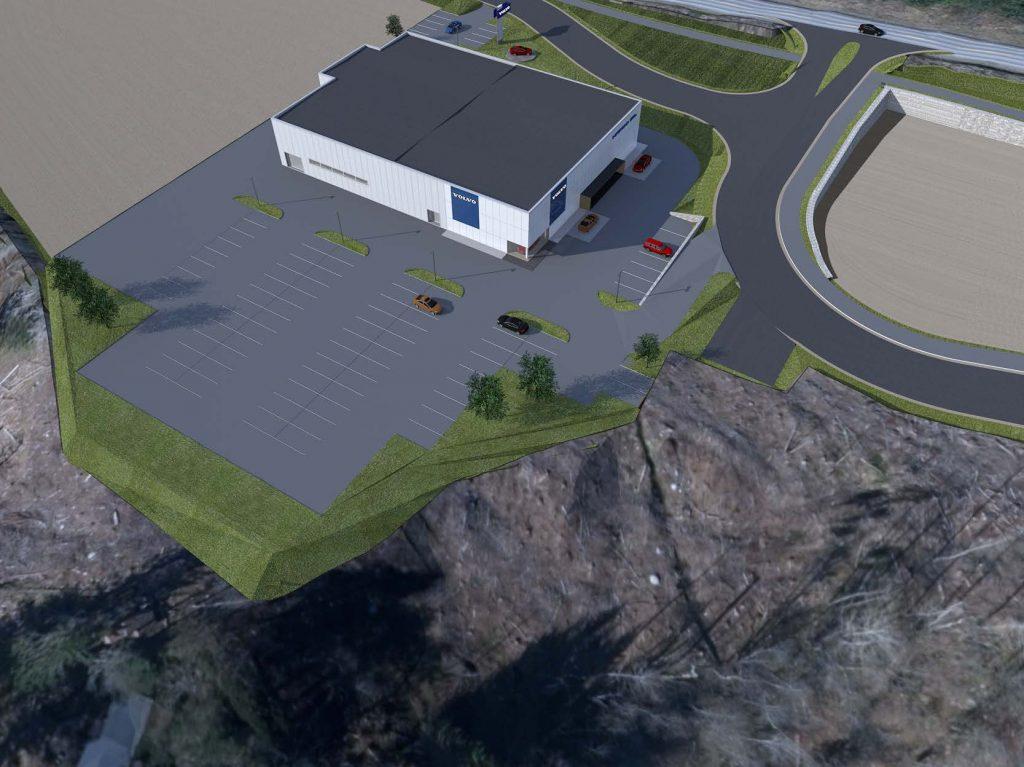 Illustrasjon av bygg med stor parkeringsplass og tomteareal