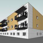 Nesset helsesenter Illustrasjon/modell av et bygg i tre etasjer med trefasade
