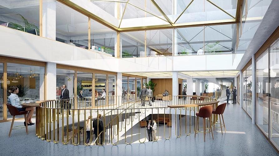 Illustrasjon av åpent areale i kontorbygg