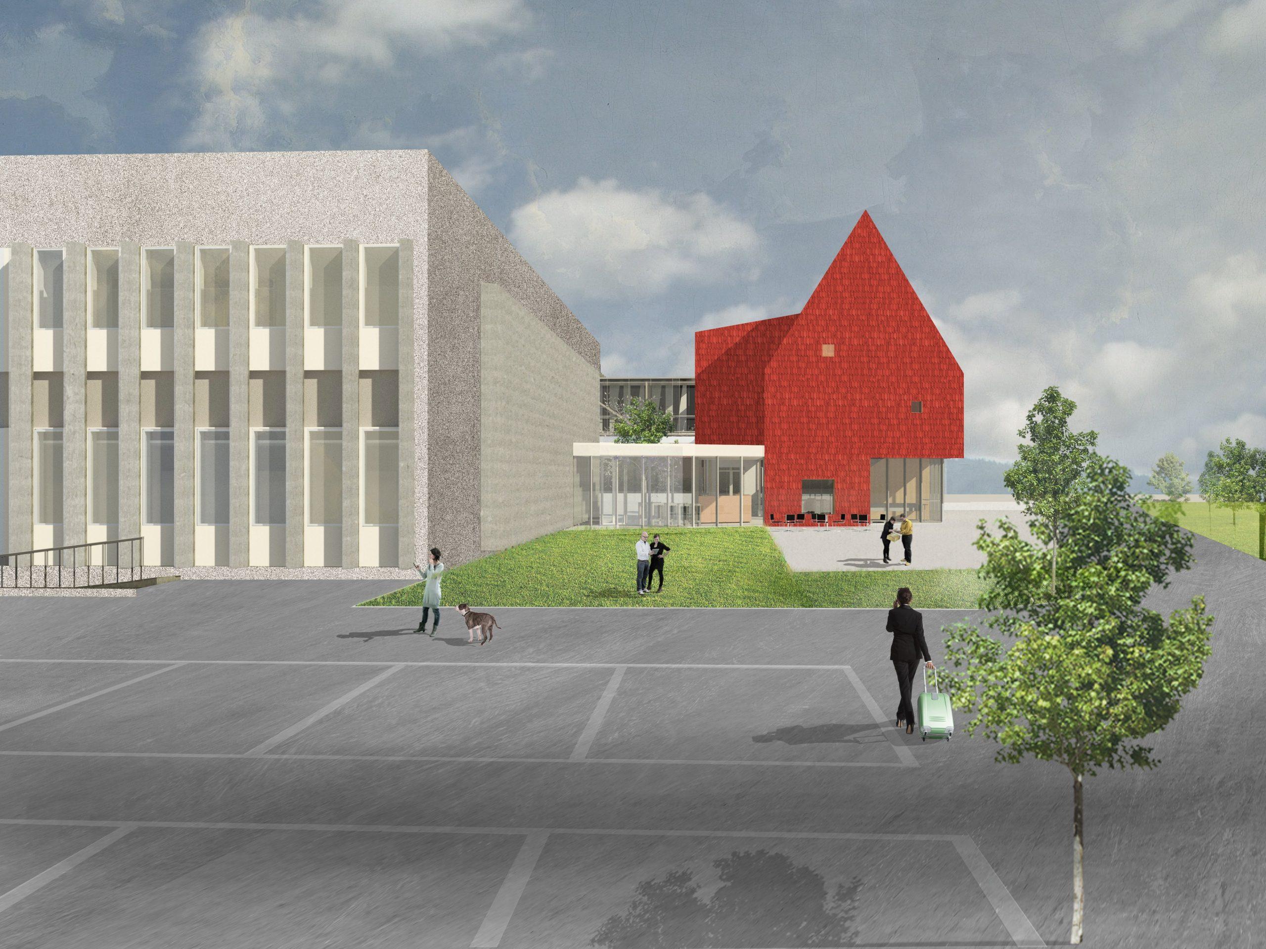 Illustrasjon av TINEs nye lokaler, med rødt bygg inntil lavere produksjonslokaler