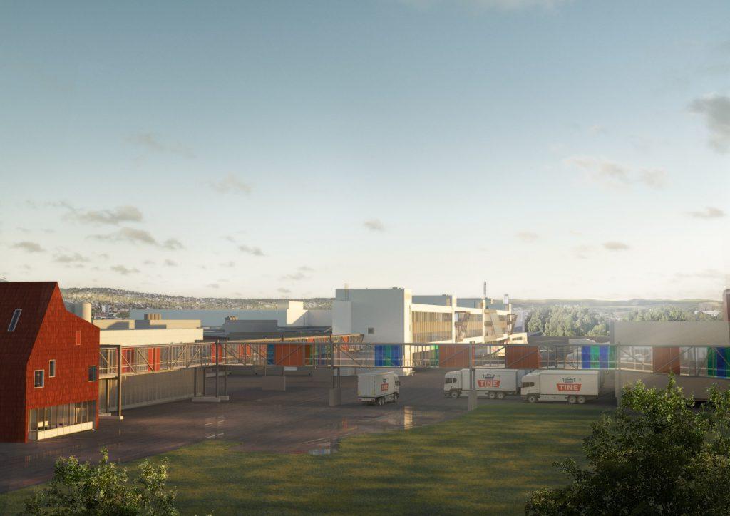 Illustrasjon av TINEs nye lokaler, avstandsbilde med bygg og lastebiler i bakgrunnen