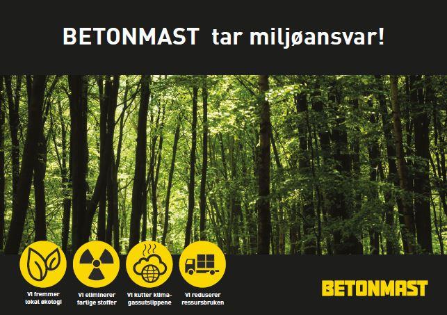 Plakat - bilde av skog, fire symboler viser Betonmasts satsingsområder innen miljø