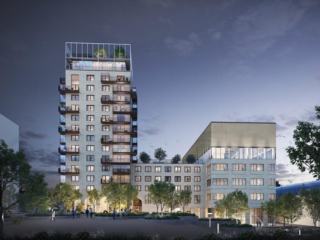 Illustrasjon av et kvartal, der et bygg er på 15 etasjer, kveld