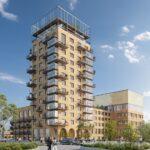 Illustrasjon av et kvartal, der et bygg er på 15 etasjer